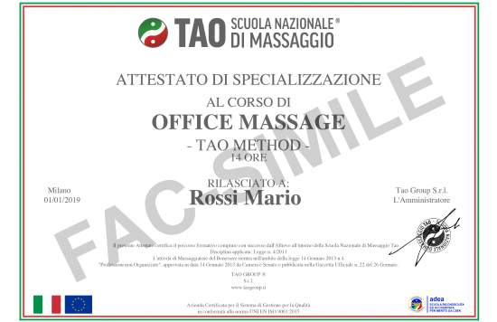 Attestato Corso di Office Massage
